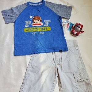 Levi's khaki shorts and Paul Frank Shirt